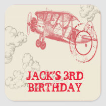 Vintage Airplane Birthday Party Stickers