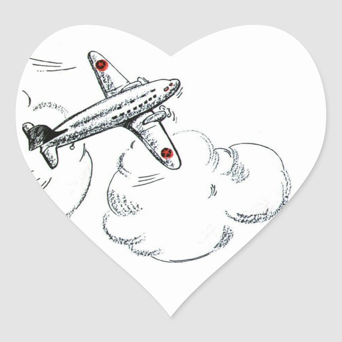 Vintage Airplane Black And White Drawing Heart Sticker Zazzle Com