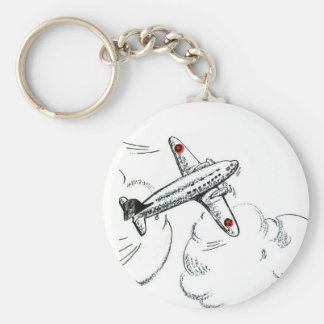 Vintage Airplane Black and White Drawing Keychain