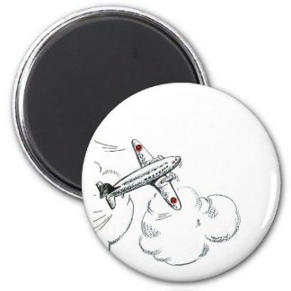 Vintage Airplane Black and White Drawing Fridge Magnets