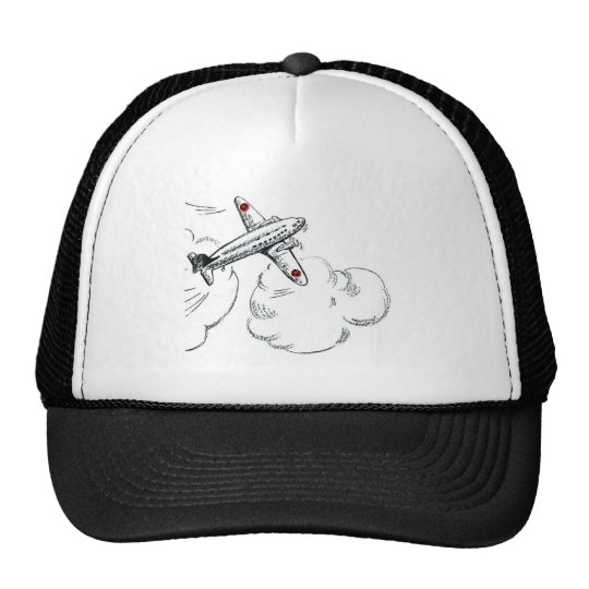 Vintage Airplane Black and White Drawing Trucker Hat