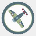 Vintage Airplane Blue/Green Envelope Seal Classic Round Sticker