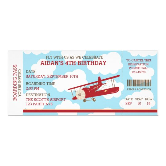 Airplane Ticket Boarding Pass Birthday Invitation: Vintage Airplane Boarding Pass Ticket Birthday Invitation
