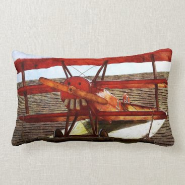 shirleytaylor Vintage Airplane by Shirley Taylor Lumbar Pillow
