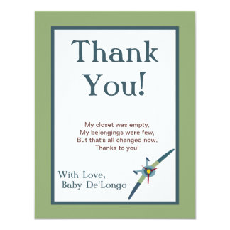 Vintage Airplane Flat Thank You Card