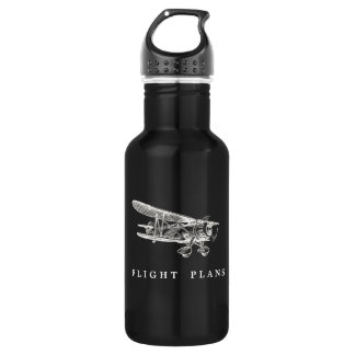 Vintage Airplane, Flight Plans, Eco Friendly Water Bottle
