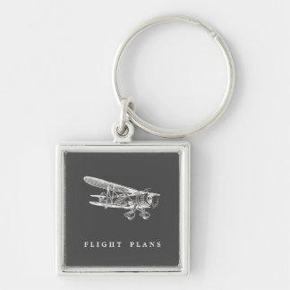 Vintage Airplane, Flight Plans Keychain