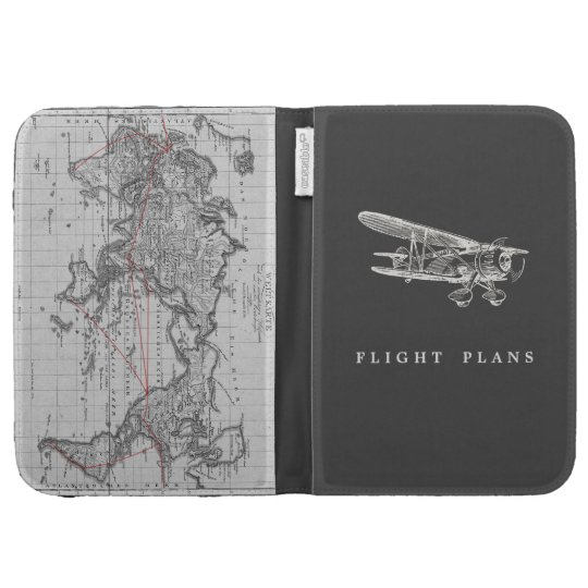 Vintage Airplane, Flight Plans Kindle Folio Cases For The Kindle
