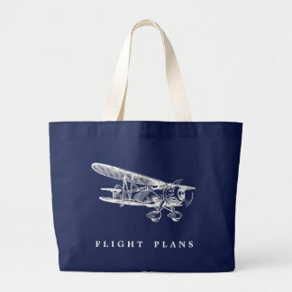Vintage Airplane, Flight Plans Large Tote Bag