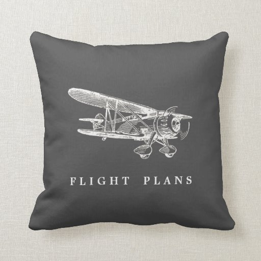 Vintage Airplane, Flight Plans Throw Pillows