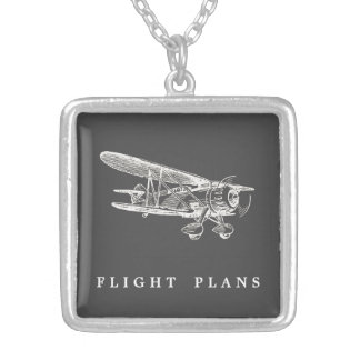 Vintage Airplane, Flight Plans Silver Plated Necklace
