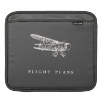 Vintage Airplane, Flight Plans Sleeve For iPads