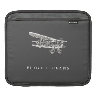 Vintage Airplane, Flight Plans Sleeves For iPads