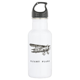 Vintage Airplane, Flight Plans Water Bottle