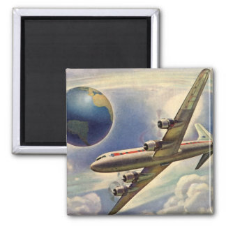Vintage Airplane Flying Around the World in Clouds 2 Inch Square Magnet