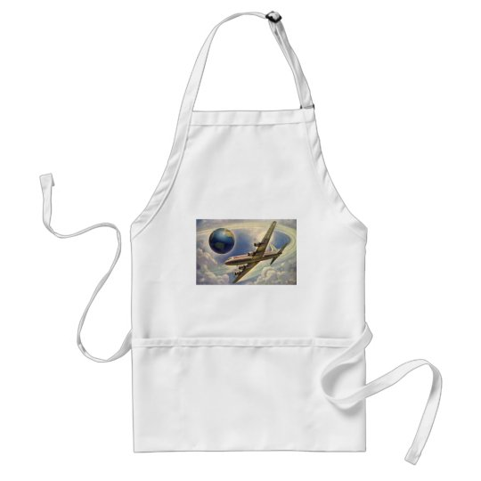 Vintage Airplane Flying Around the World in Clouds Adult Apron