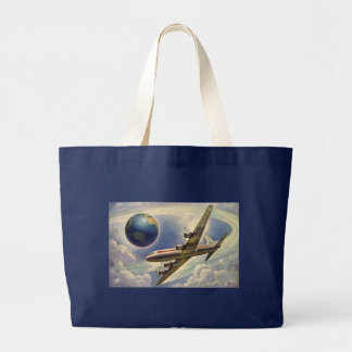 Vintage Airplane Flying Around the World in Clouds Tote Bag