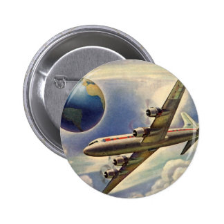 Vintage Airplane Flying Around the World in Clouds Button