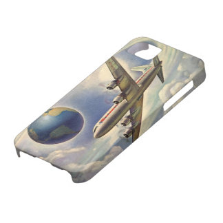 Vintage Airplane Flying Around the World in Clouds iPhone 5 Cover