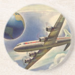 Vintage Airplane Flying Around the World in Clouds Drink Coasters
