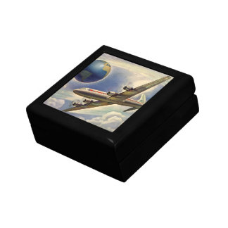 Vintage Airplane Flying Around the World in Clouds Jewelry Boxes