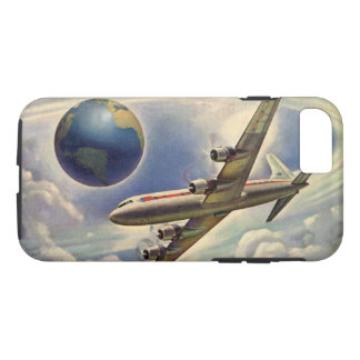 Vintage Airplane Flying Around the World in Clouds iPhone 8/7 Case