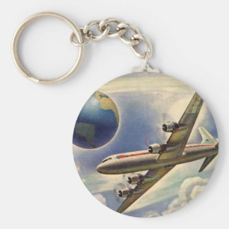 Vintage Airplane Flying Around the World in Clouds Keychains