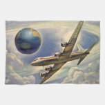 Vintage Airplane Flying Around the World in Clouds Hand Towel
