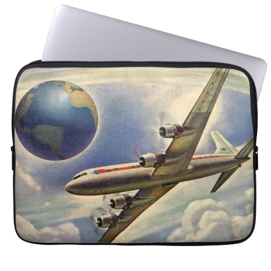 Vintage Airplane Flying Around the World in Clouds Laptop Sleeve