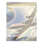 Vintage Airplane Flying Around the World in Clouds Custom Letterhead