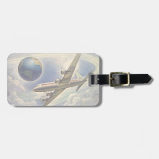 Vintage Airplane Flying Around the World in Clouds Luggage Tag