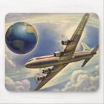 Vintage Airplane Flying Around the World in Clouds Mousepads
