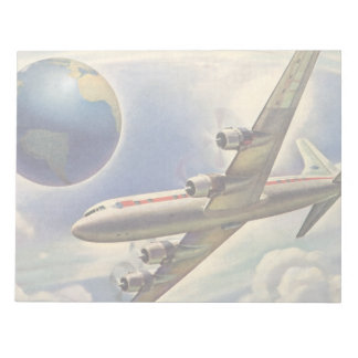 Vintage Airplane Flying Around the World in Clouds Memo Note Pad