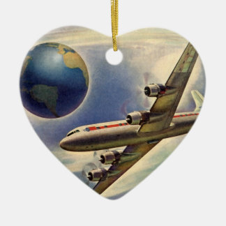 Vintage Airplane Flying Around the World in Clouds Double-Sided Heart Ceramic Christmas Ornament
