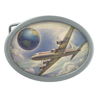 Vintage Airplane Flying Around the World in Clouds Oval Belt Buckle