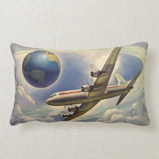 Vintage Airplane Flying Around the World in Clouds Pillow