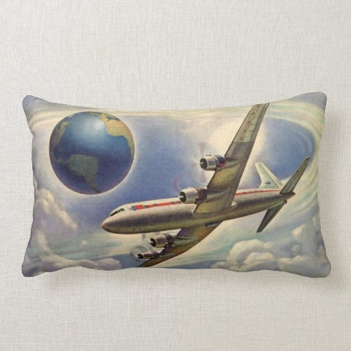 Vintage Airplane Flying Around the World in Clouds Pillows