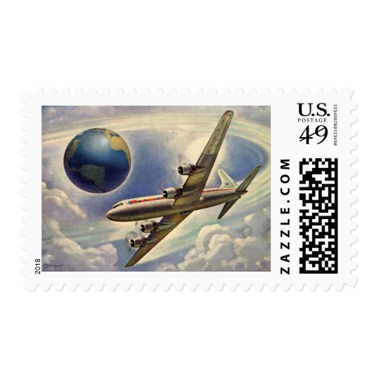 Vintage Airplane Flying Around the World in Clouds Postage