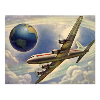 Vintage Airplane Flying Around the World in Clouds Postcard