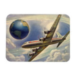 Vintage Airplane Flying Around the World in Clouds Magnet