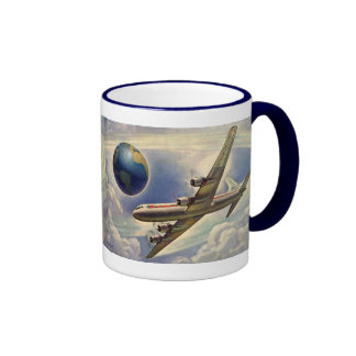 Vintage Airplane Flying Around the World in Clouds Ringer Mug