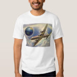 Vintage Airplane Flying Around the World in Clouds Shirts