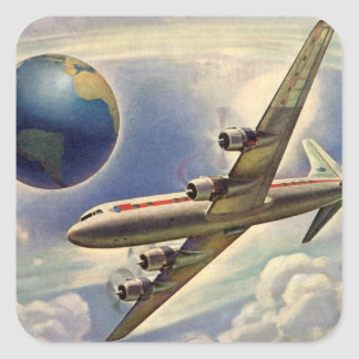 Vintage Airplane Flying Around the World in Clouds Square Sticker