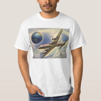 Vintage Airplane Flying Around the World in Clouds T-Shirt