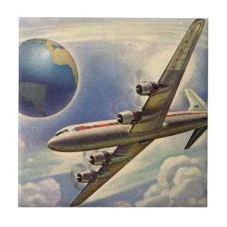 Vintage Airplane Flying Around the World in Clouds Tile