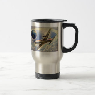 Vintage Airplane Flying Around the World in Clouds Travel Mug