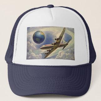 Vintage Airplane Flying Around the World in Clouds Trucker Hat