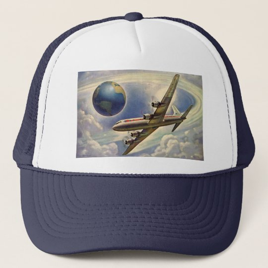 Vintage Airplane Flying Around the World in Clouds Trucker Hat