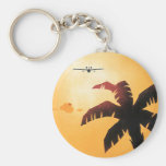 Vintage Airplane Flying Over Hawaii and Palm Tree Basic Round Button Keychain
