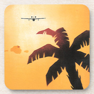 Vintage Airplane Flying Over Hawaii and Palm Tree Drink Coaster